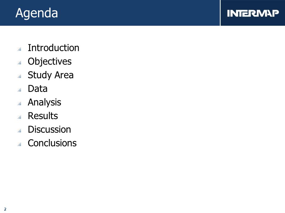 2 Agenda Introduction Objectives Study Area Data Analysis Results Discussion Conclusions