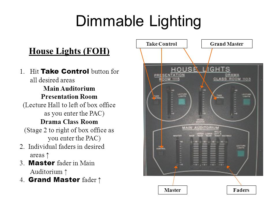 Dimmable Lighting House Lights (FOH) 1.Hit Take Control button for all desired areas Main Auditorium Presentation Room (Lecture Hall to left of box office as you enter the PAC) Drama Class Room (Stage 2 to right of box office as you enter the PAC) 2.