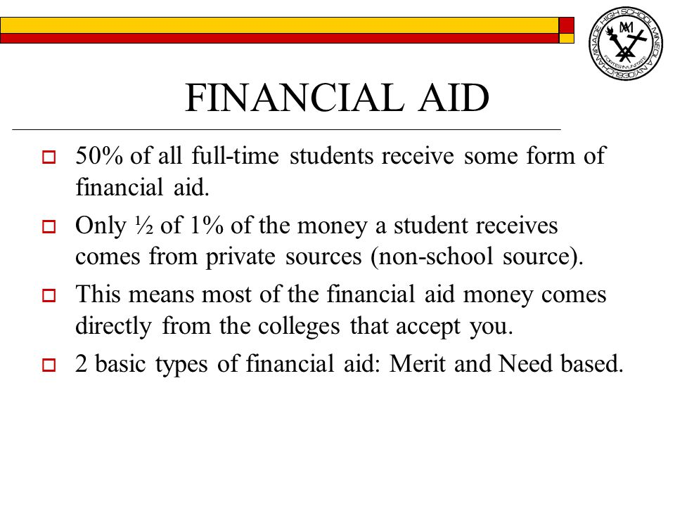 FINANCIAL AID  50% of all full-time students receive some form of financial aid.