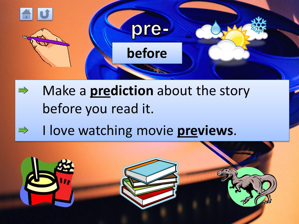 PrefixDefinitionExample pre-beforepreview un-notunhappy re-back, againreread, replay non-notnonsense sub-undersubmarine A prefix is a group of letters that comes before a root word.