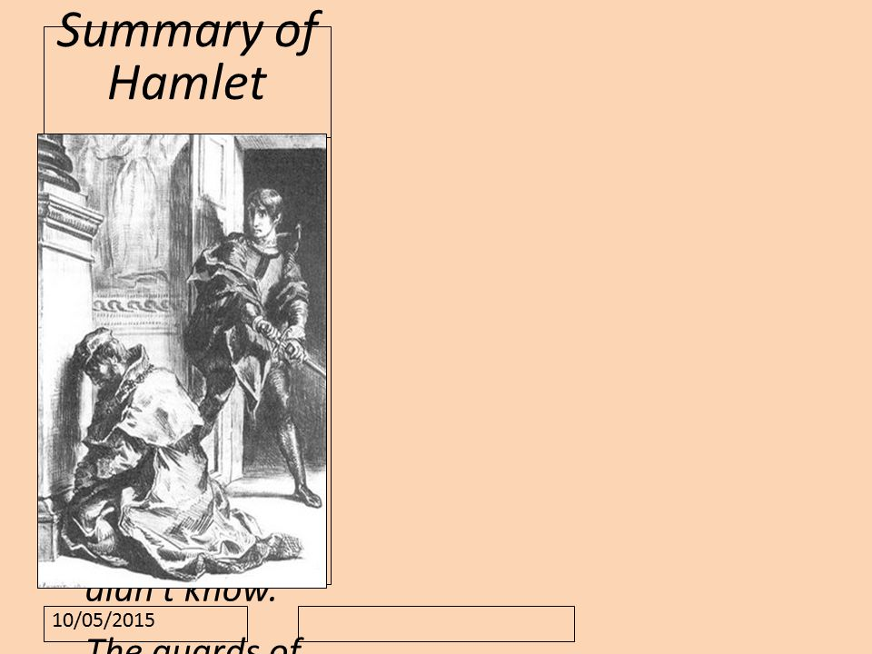 10/05/2015 Summary of Hamlet Claudius has killed Hamlet s father, the King of Denmark.