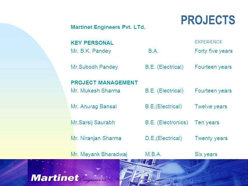 Martinet Engineers Pvt. LTd. KEY PERSONAL EXPERIENCE Mr.
