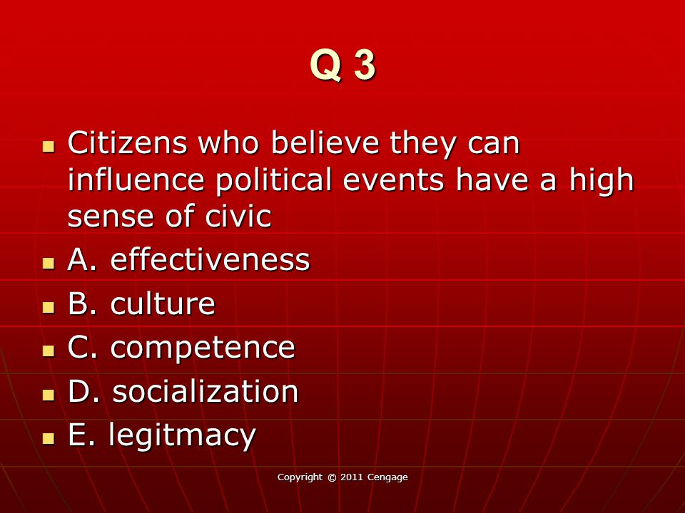 Q 3 Citizens who believe they can influence political events have a high sense of civic Citizens who believe they can influence political events have a high sense of civic A.