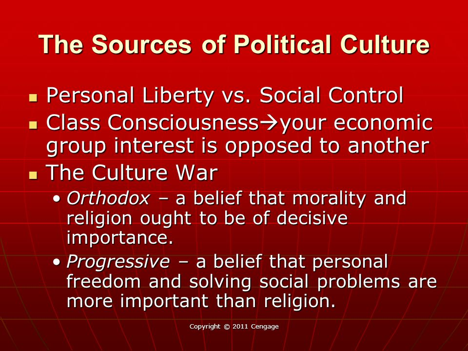 Copyright © 2011 Cengage The Sources of Political Culture Personal Liberty vs.