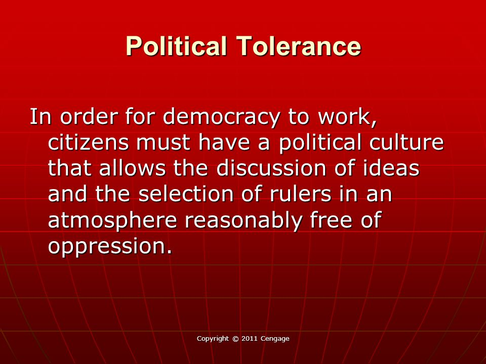 Political Tolerance In order for democracy to work, citizens must have a political culture that allows the discussion of ideas and the selection of ru