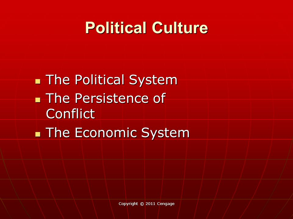 Political Culture The Political System The Political System The Persistence of Conflict The Persistence of Conflict The Economic System The Economic S