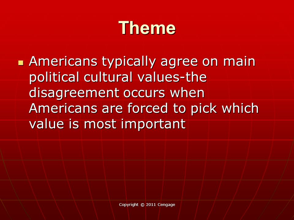 Theme Americans typically agree on main political cultural values-the disagreement occurs when Americans are forced to pick which value is most import