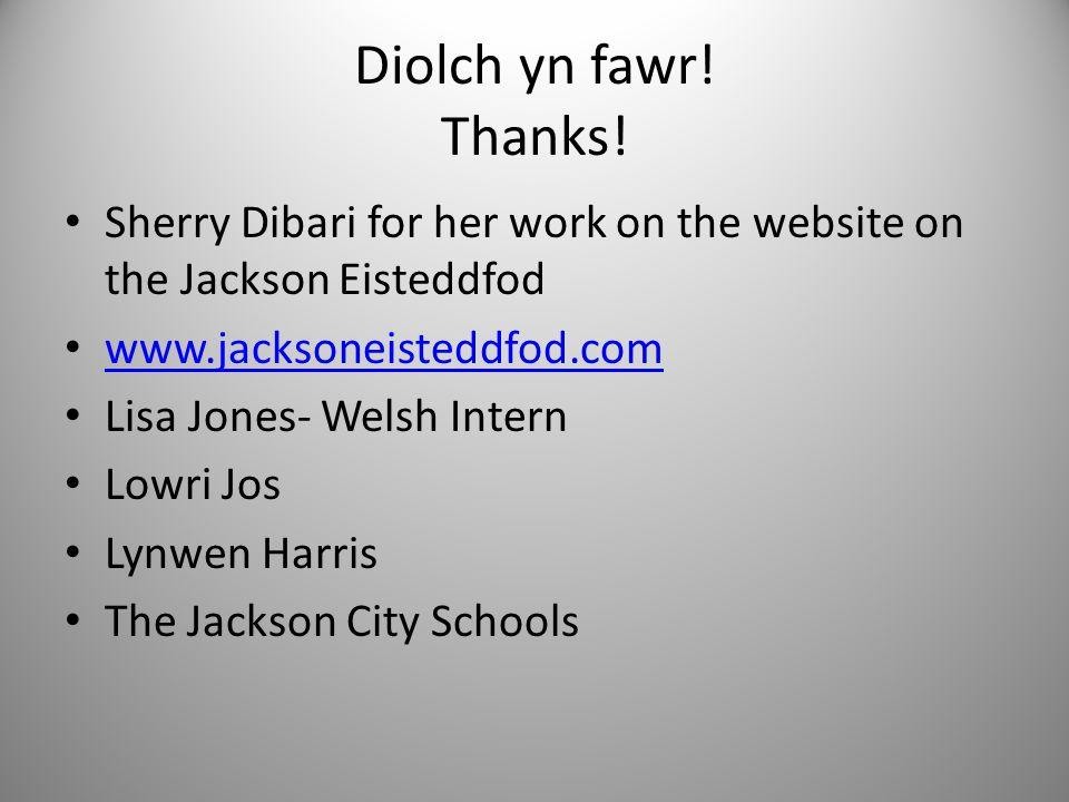 Diolch yn fawr. Thanks.