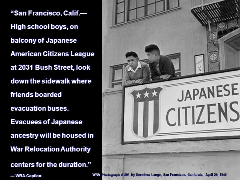 """San Francisco, Calif.— High school boys, on balcony of Japanese American Citizens League at 2031 Bush Street, look down the sidewalk where friends bo"