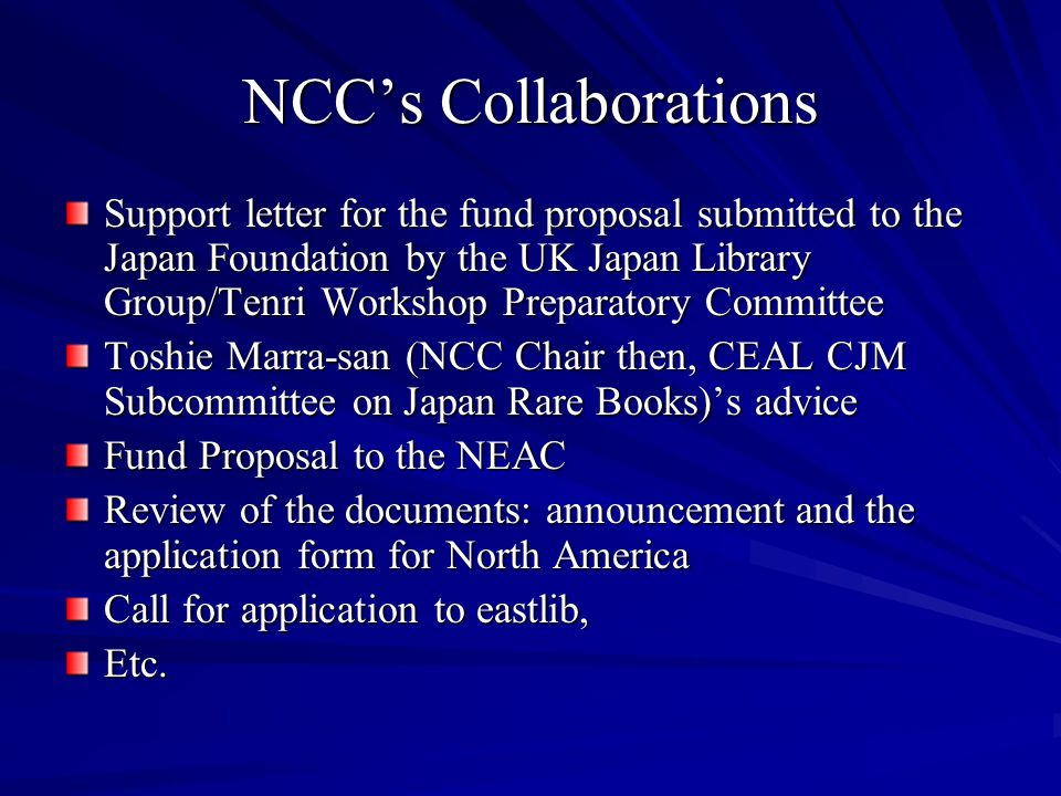 NCC's Collaborations Support letter for the fund proposal submitted to the Japan Foundation by the UK Japan Library Group/Tenri Workshop Preparatory C