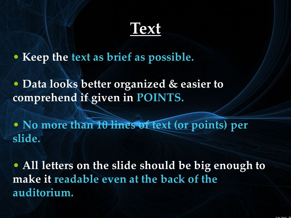 Text Keep the text as brief as possible.