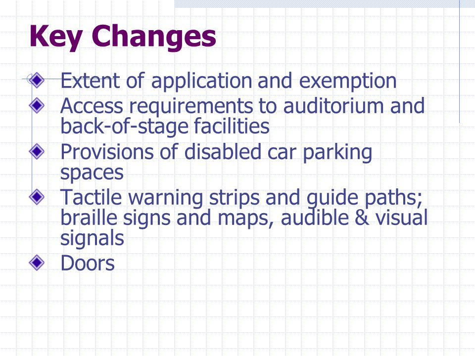 Key Changes Illumination levels in common areas Colour contrast/ luminous contract Assistive provisions for persons with visual or hearing impairment Lifts Toilets Design guidelines for the elderly