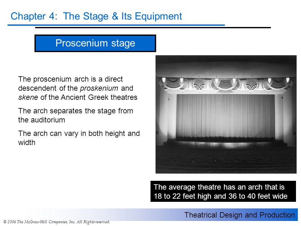 Theatrical Design and Production Chapter 4: The Stage & Its Equipment © 2006 The McGraw-Hill Companies, Inc.