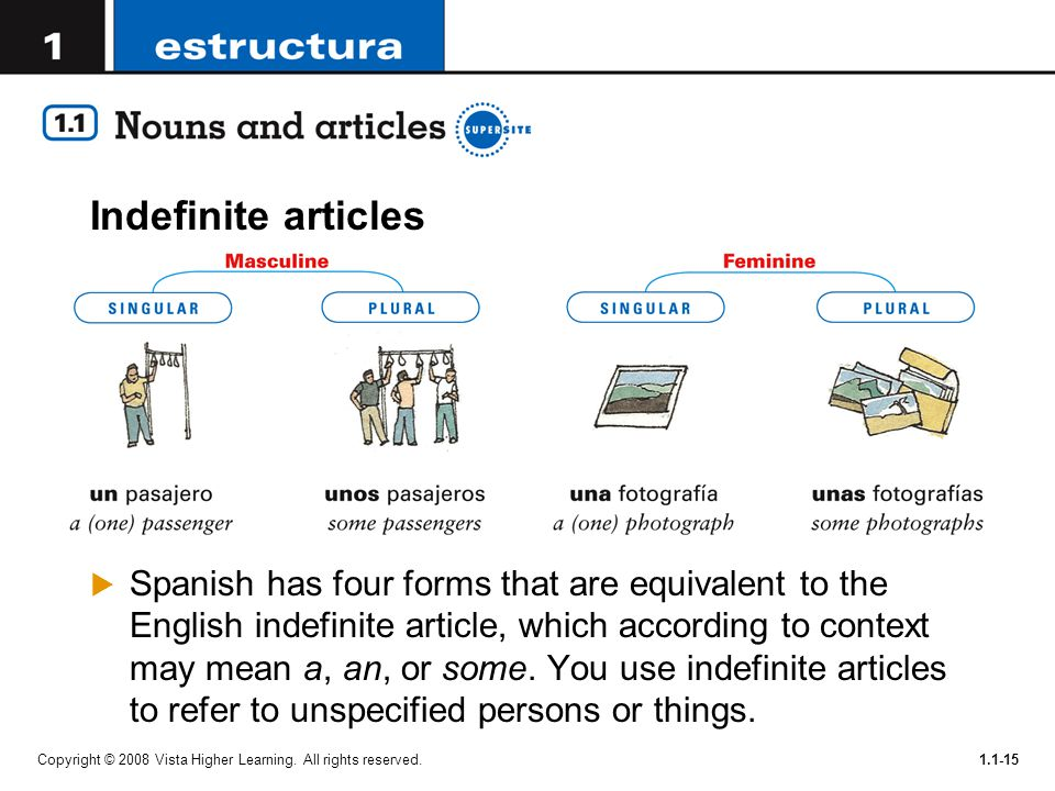 Copyright © 2008 Vista Higher Learning. All rights reserved.1.1-15 Indefinite articles  Spanish has four forms that are equivalent to the English ind