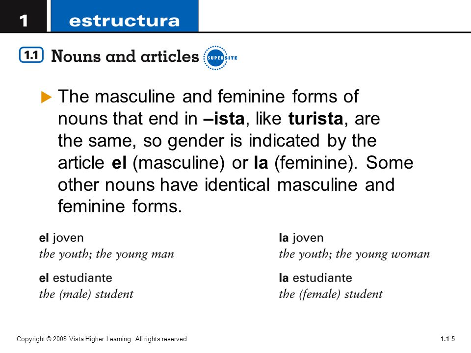 Copyright © 2008 Vista Higher Learning. All rights reserved.1.1-5  The masculine and feminine forms of nouns that end in –ista, like turista, are the