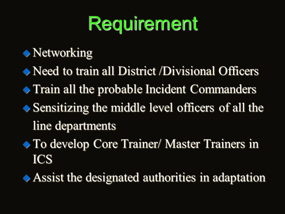 Requirement  Calender Training Programmes  Training & CB under NCRMP  NIDM Sponsored Training Programmes  NDMA Sponsored Workshops  RCDM Programm