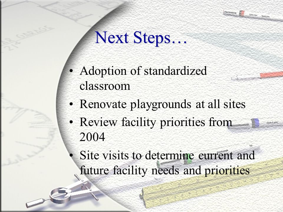 Next Steps… Adoption of standardized classroom Renovate playgrounds at all sites Review facility priorities from 2004 Site visits to determine current and future facility needs and priorities
