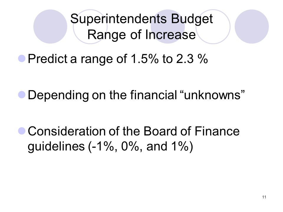 11 Superintendents Budget Range of Increase Predict a range of 1.5% to 2.3 % Depending on the financial unknowns Consideration of the Board of Finance guidelines (-1%, 0%, and 1%)