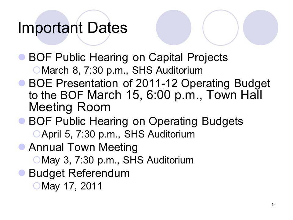 13 Important Dates BOF Public Hearing on Capital Projects  March 8, 7:30 p.m., SHS Auditorium BOE Presentation of 2011-12 Operating Budget to the BOF March 15, 6:00 p.m., Town Hall Meeting Room BOF Public Hearing on Operating Budgets  April 5, 7:30 p.m., SHS Auditorium Annual Town Meeting  May 3, 7:30 p.m., SHS Auditorium Budget Referendum  May 17, 2011