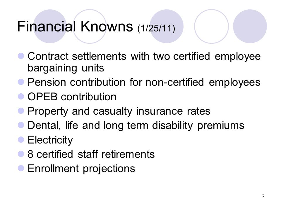 5 Financial Knowns (1/25/11) Contract settlements with two certified employee bargaining units Pension contribution for non-certified employees OPEB contribution Property and casualty insurance rates Dental, life and long term disability premiums Electricity 8 certified staff retirements Enrollment projections