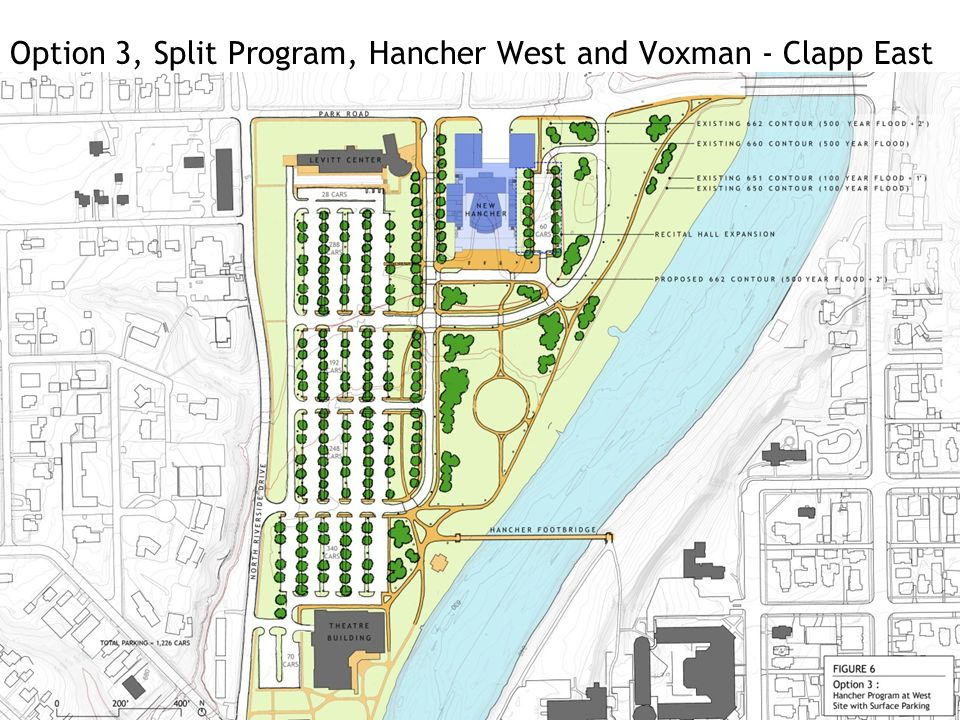 Option 3, Split Program, Hancher West and Voxman - Clapp East