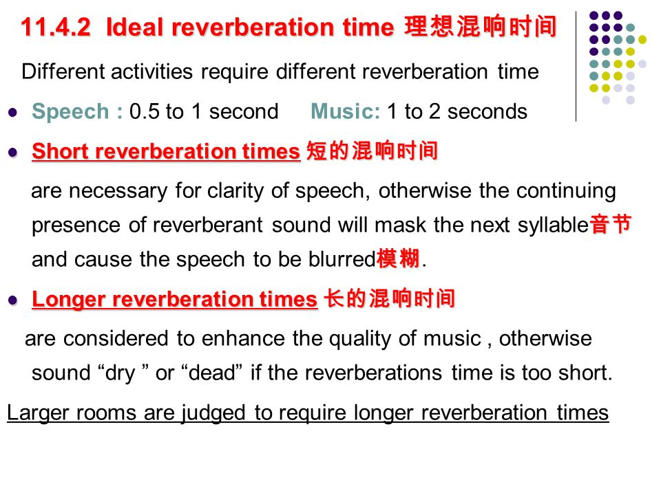 Optimum reverberation times 最佳混响时间 Optimum reverberation times 最佳混响时间 Stephens and Bate formula r= 4 for speech, 5 for orchestras 管弦乐队, 6 for choirs 合唱团 Ideal reverberation times Ideal reverberation times can be presented in sets of graphs, such as those shown in figure 11.10