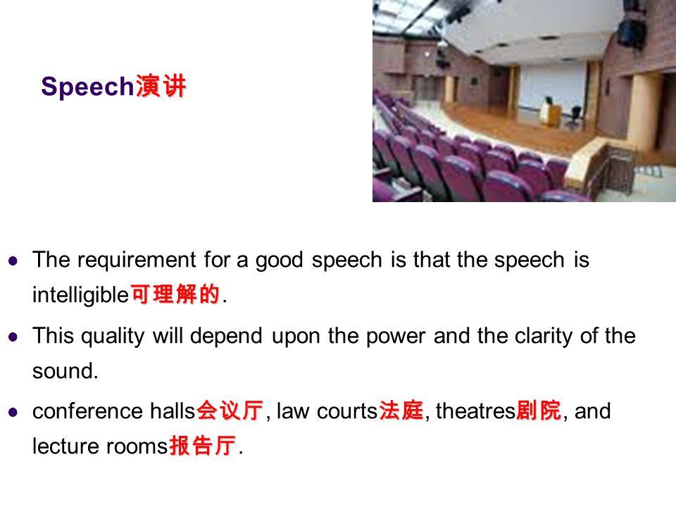 演讲 Speech 演讲 可理解的 The requirement for a good speech is that the speech is intelligible 可理解的. This quality will depend upon the power and the clarity o