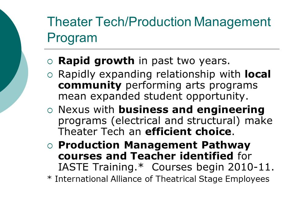 Theater Tech/Production Management Program  Rapid growth in past two years.