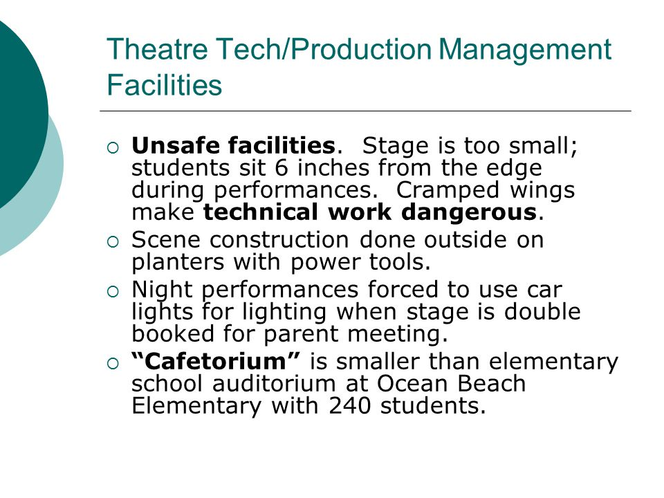 Theatre Tech/Production Management Facilities  Unsafe facilities.