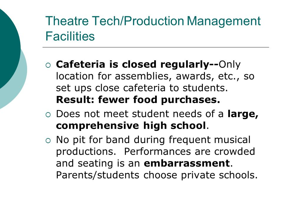 Theatre Tech/Production Management Facilities  Cafeteria is closed regularly--Only location for assemblies, awards, etc., so set ups close cafeteria to students.