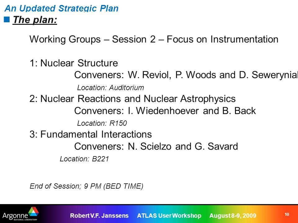 Robert V.F. Janssens ATLAS User Workshop August 8-9, 2009 10 An Updated Strategic Plan The plan: Working Groups – Session 2 – Focus on Instrumentation