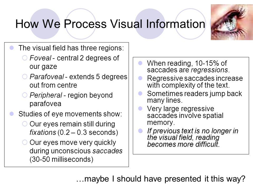 How We Process Visual Information When reading, 10-15% of saccades are regressions.