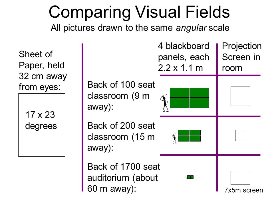 Comparing Visual Fields Sheet of Paper, held 32 cm away from eyes: 17 x 23 degrees Back of 100 seat classroom (9 m away): Back of 200 seat classroom (15 m away): Back of 1700 seat auditorium (about 60 m away): 4 blackboard panels, each 2.2 x 1.1 m Projection Screen in room All pictures drawn to the same angular scale 7x5m screen