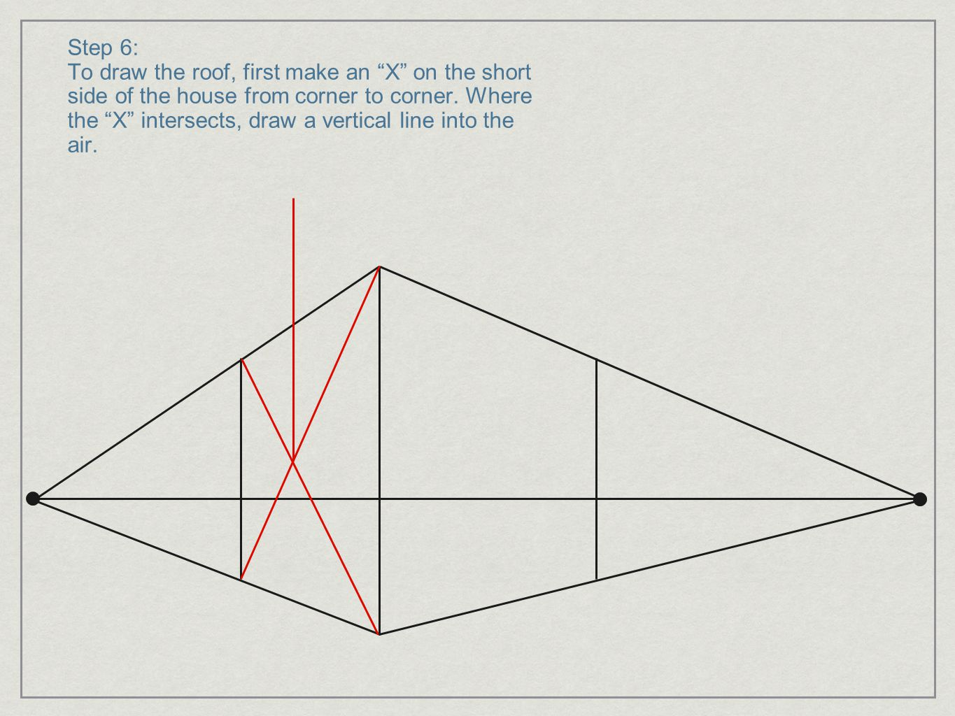 """Step 6: To draw the roof, first make an """"X"""" on the short side of the house from corner to corner. Where the """"X"""" intersects, draw a vertical line into"""