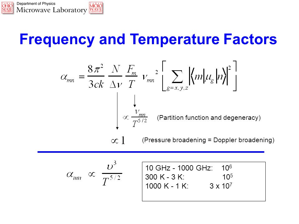 Frequency and Temperature Factors (Partition function and degeneracy) (Pressure broadening = Doppler broadening) 10 GHz - 1000 GHz: 10 6 300 K - 3 K: 10 5 1000 K - 1 K: 3 x 10 7