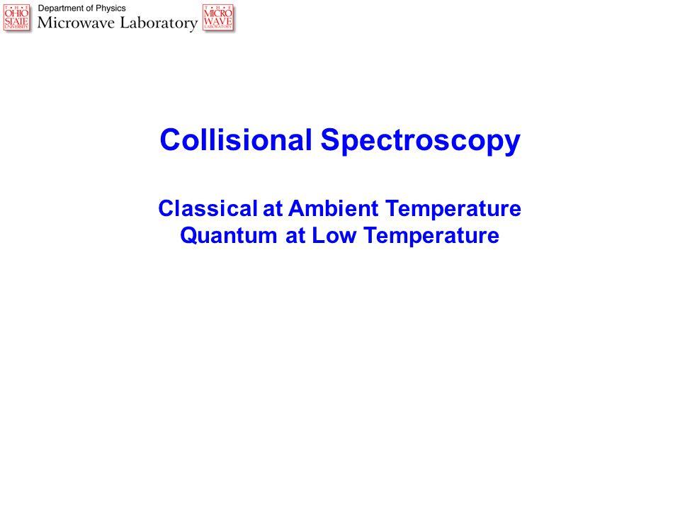 Collisional Spectroscopy Classical at Ambient Temperature Quantum at Low Temperature