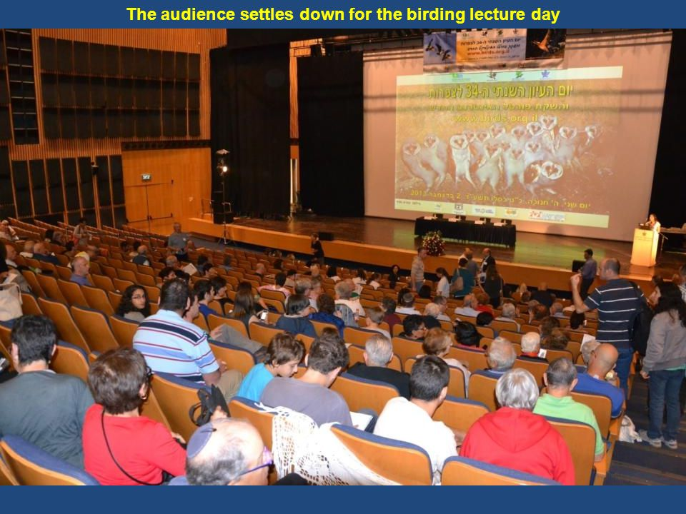 The audience settles down for the birding lecture day