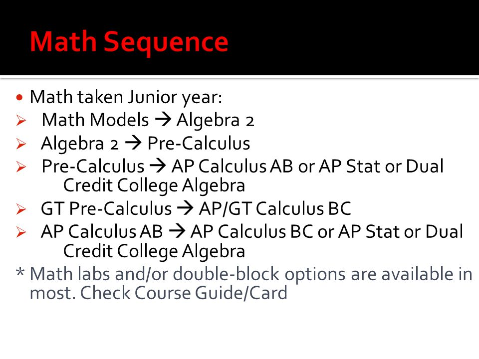 Math taken Junior year:  Math Models  Algebra 2  Algebra 2  Pre-Calculus  Pre-Calculus  AP Calculus AB or AP Stat or Dual Credit College Algebra  GT Pre-Calculus  AP/GT Calculus BC  AP Calculus AB  AP Calculus BC or AP Stat or Dual Credit College Algebra * Math labs and/or double-block options are available in most.