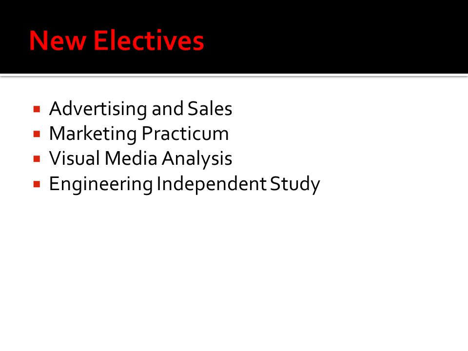  Advertising and Sales  Marketing Practicum  Visual Media Analysis  Engineering Independent Study