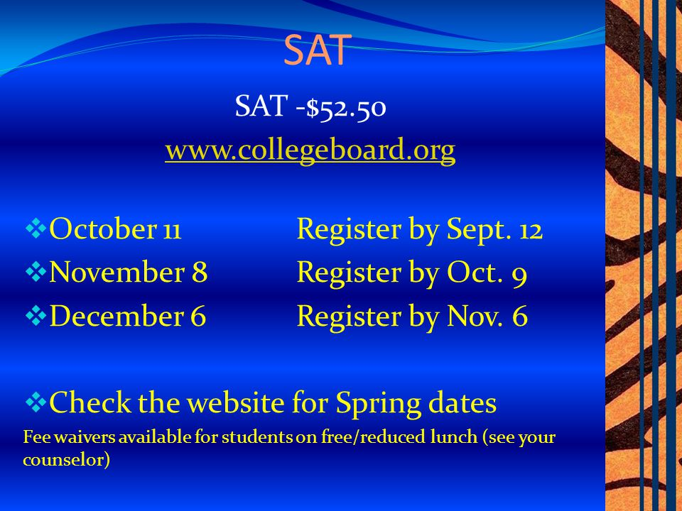 3 Things… 1.Application 2. SAT/ACT Scores 3.