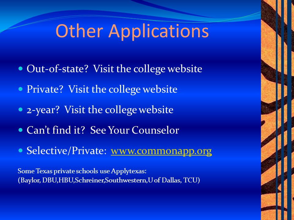 Lone Star College Application : www.lonestar.eduwww.lonestar.edu TSI placement test No SAT or ACT test score required – but the scores can be used for placement A Lonestar Rep visits KCHS several times a month – Let your counselor know if you would like to meet with a Lonestar representative.
