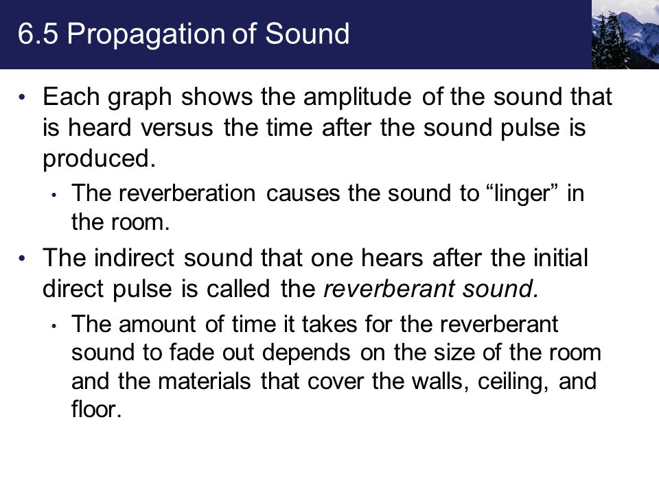6.5 Propagation of Sound Sound is never completely reflected by a surface: Some percentage of the energy in an incoming wave is absorbed by the surface, leaving the reflected wave with a reduced amplitude.