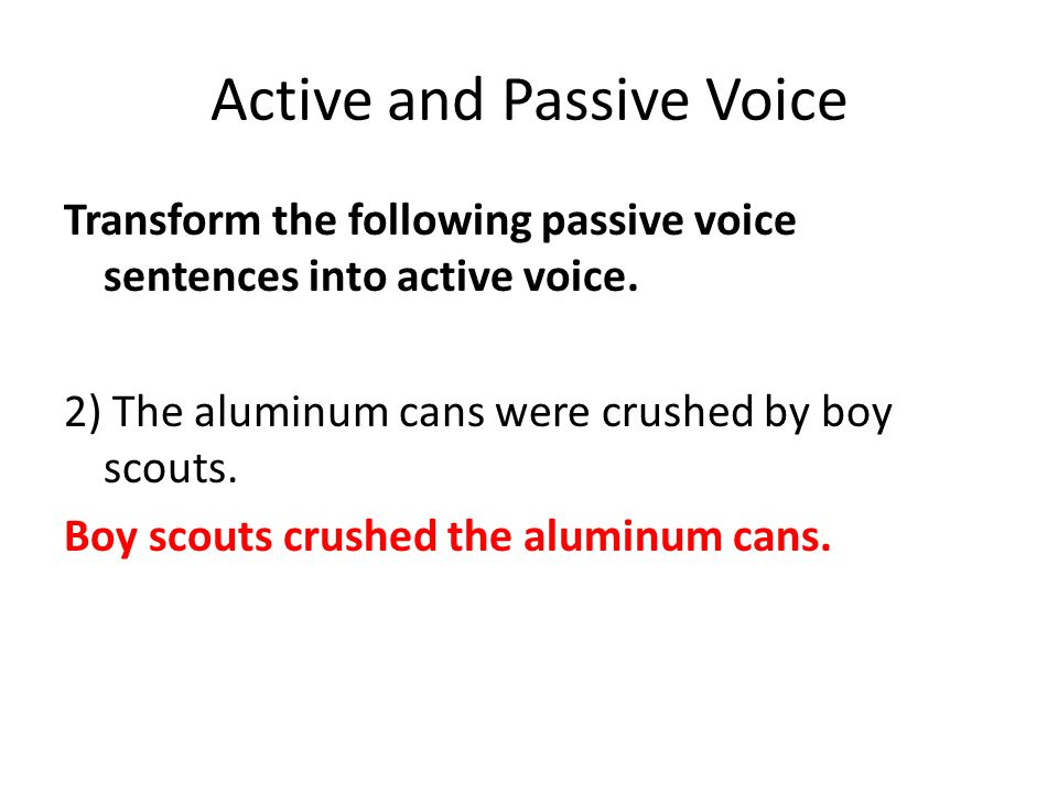 Active and Passive Voice Transform the following passive voice sentences into active voice. 2) The aluminum cans were crushed by boy scouts. Boy scout