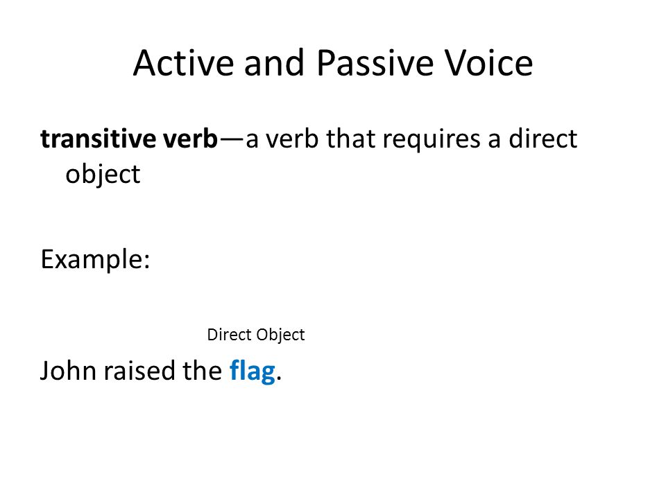 Active and Passive Voice Voice is the form a transitive verb takes to indicate whether the subject of the verb performs or receives the action.