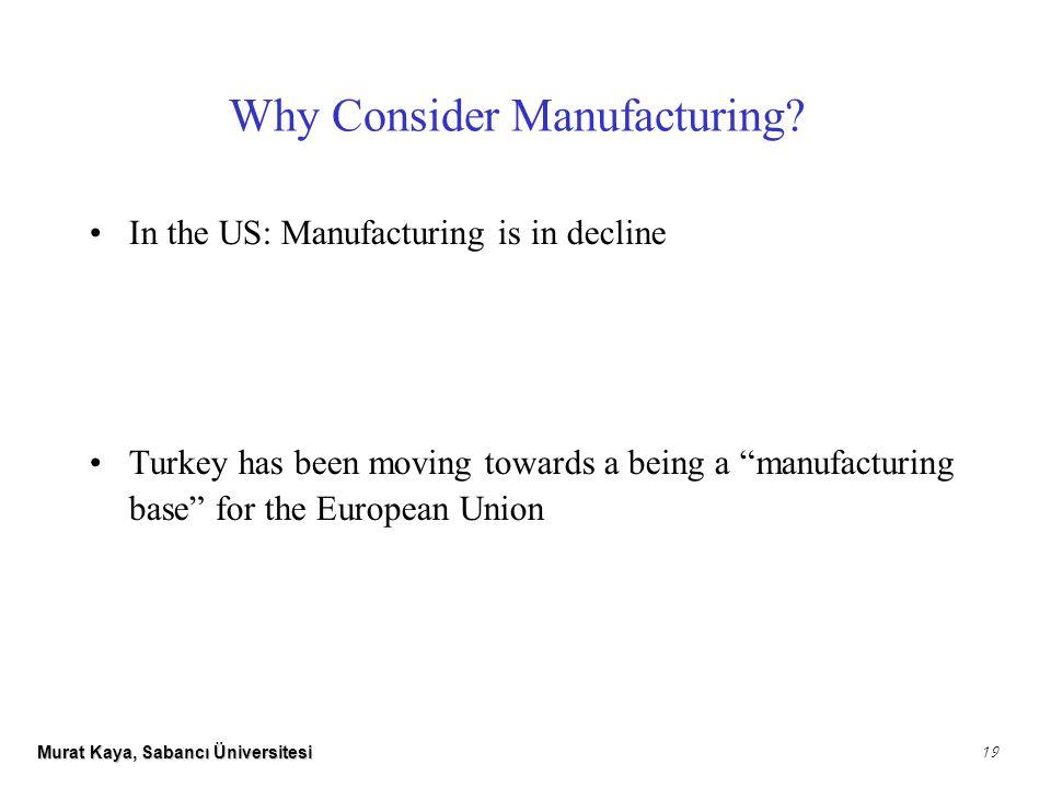 Murat Kaya, Sabancı Üniversitesi 19 Why Consider Manufacturing.