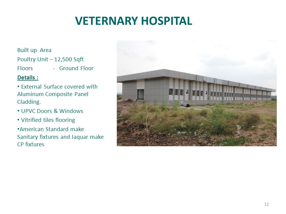VETERNARY HOSPITAL Built up Area Poultry Unit – 12,500 Sqft Floors - Ground Floor Details : External Surface covered with Aluminum Composite Panel Cla