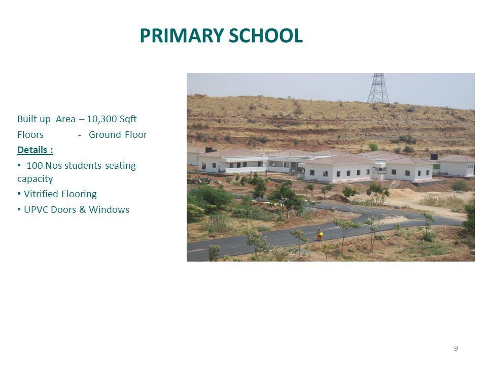PRIMARY SCHOOL Built up Area – 10,300 Sqft Floors - Ground Floor Details : 100 Nos students seating capacity Vitrified Flooring UPVC Doors & Windows 9