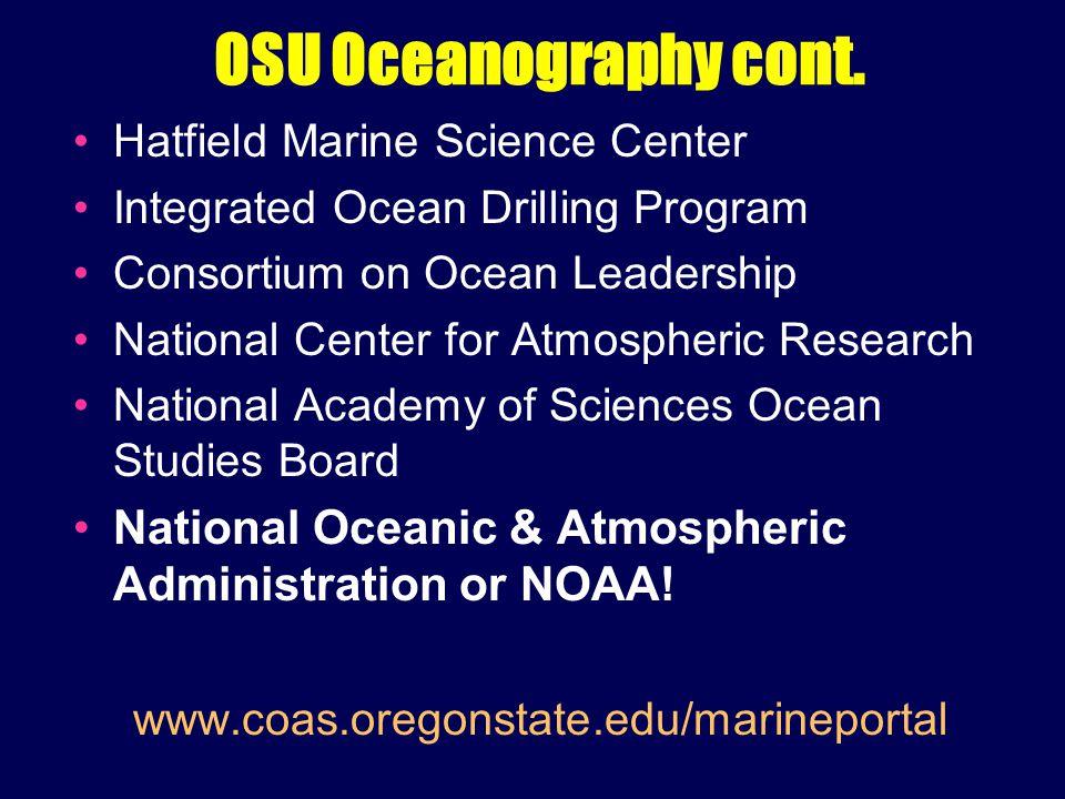 OSU Oceanography cont.