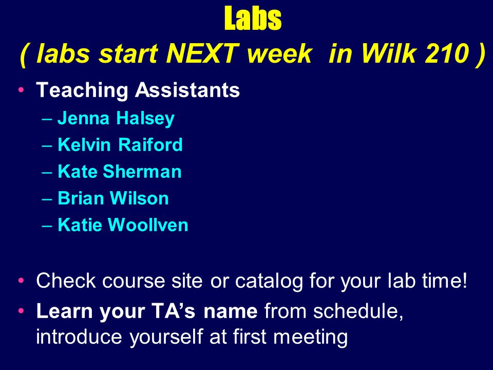 Labs ( labs start NEXT week in Wilk 210 ) Teaching Assistants –Jenna Halsey –Kelvin Raiford –Kate Sherman –Brian Wilson –Katie Woollven Check course site or catalog for your lab time.