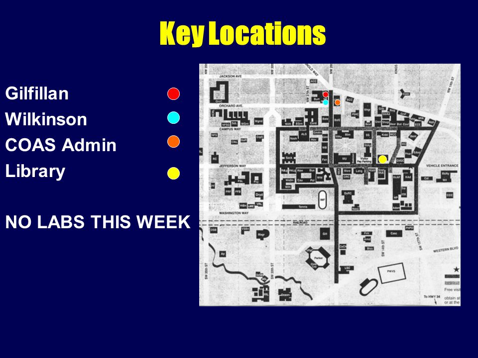 Gilfillan Wilkinson COAS Admin Library NO LABS THIS WEEK Key Locations